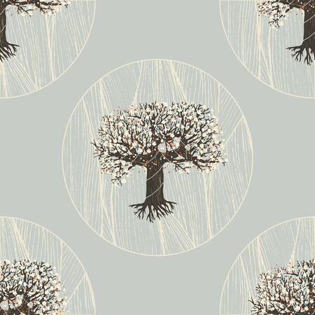 bareness: seamless pattern. blooming fairy tree with root. geometric design
