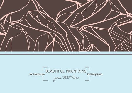 pink hills: abstract template card with hand drawn mountains.