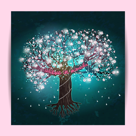 party night: Beautiful blooming tree, decorated with glowing lights and flowers