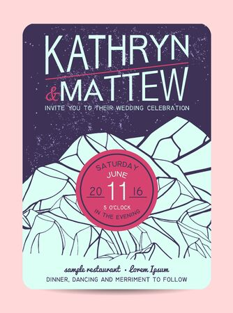 pink hills: Beautiful wedding invitation, decorated with abstract mountains. Retro design Illustration
