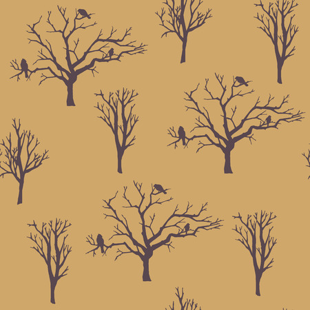 bareness: seamless pattern. forest tree background.