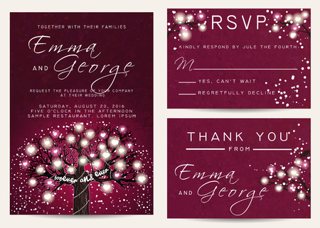 fairy tree: Beautiful wedding set, decorated with fairy tree. Vintage invitation template with glowing hearts