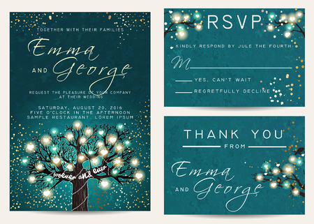 Beautiful wedding set, decorated with fairy tree. Vintage invitation template with glowing hearts and golden glitter