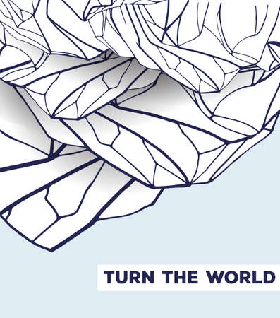 rock stone: abstract template with hand drawn inverted mountains. beautiful card decorated with the inscription turn the world