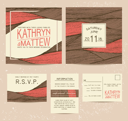rsvp: wedding invitation set with rsvp card. beautiful wavy ornament background in warm tones
