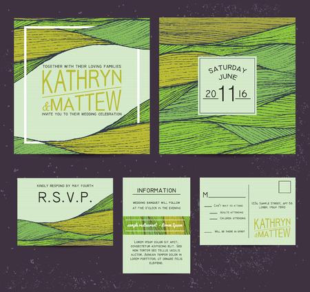 rsvp: wedding invitation set with rsvp card. beautiful green wavy ornament background Illustration