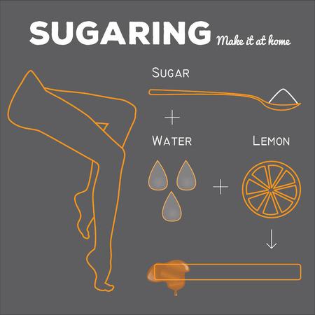 sugar paste: Sugaring illustration. sugar paste ingredients