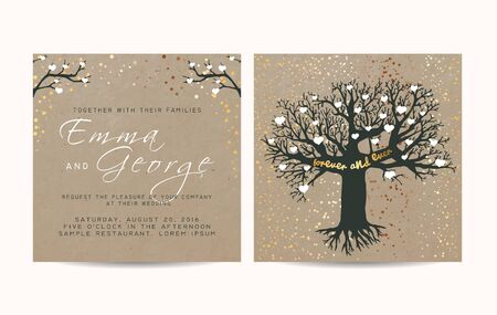 fairy tree: beautiful wedding invitation set on paper, decorated with fairy tree and gold glitter