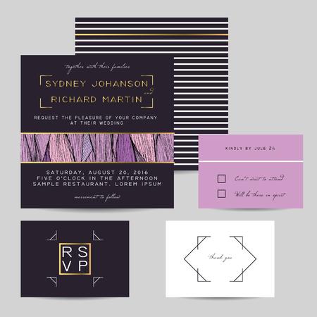 invitación de la boda establece con la decoración de oro. hermoso fondo de color lila ornamento ondulado