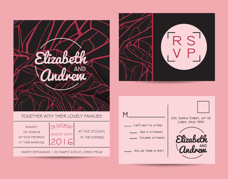 pink hills: Beautiful wedding set, decorated with abstract mountains. Geometric invitation template