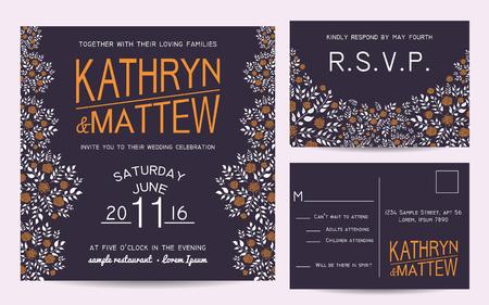 rsvp: Elegant wedding invitation set with rsvp card