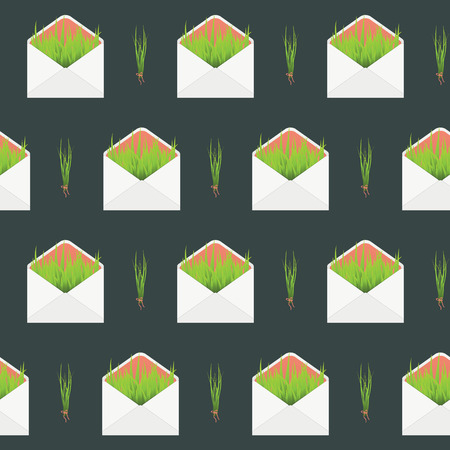 bundle of letters: seamless pattern with envelope and grass