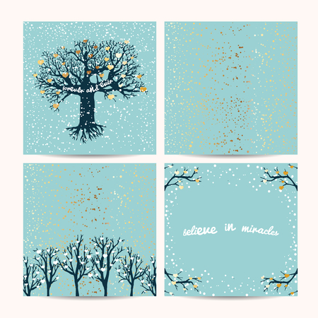 beautiful trees template. Background decorated with hearts and golden glitter Illustration