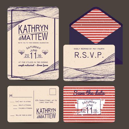 rsvp: wedding invitation set with rsvp card. wavy and stripy ornament. monochrome retro design Illustration