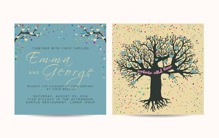 fairy tree: beautiful wedding invitation set with fairy tree, decorated with confetti