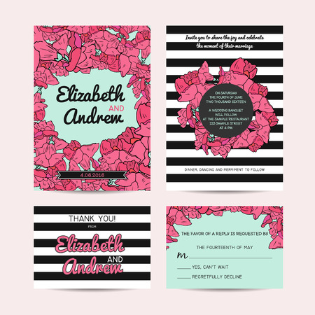 rsvp: wedding set with invitation and rsvp cards, floral and striped background