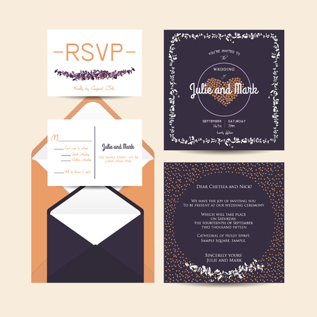 rsvp: wedding set with invitation and rsvp cards and envelope
