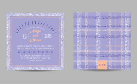 Wedding invitation card with abstract checkered background