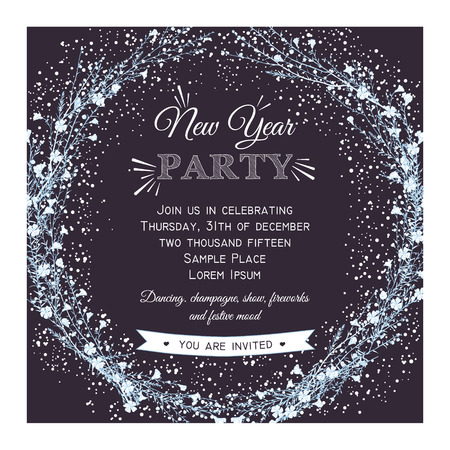 New year party invitation card on kraft with hand drawn branch 62950554 new year party invitation card with hand drawn branch of flax stopboris Choice Image