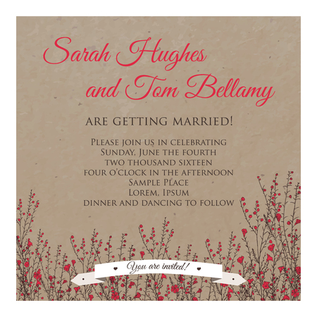wedding invitation cards on kraft decorated with hand drawn branch of flax