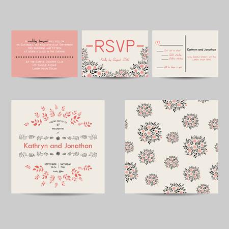 rsvp: wedding set with invitation and rsvp cards Illustration