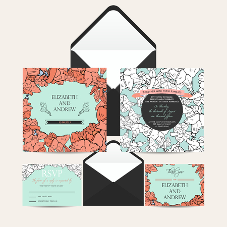 Wedding invitation set with abstract floral background