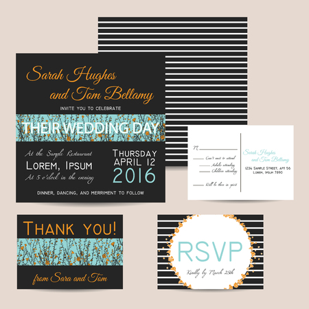 Wedding invitation set with striped background and hand drawn branch of flax