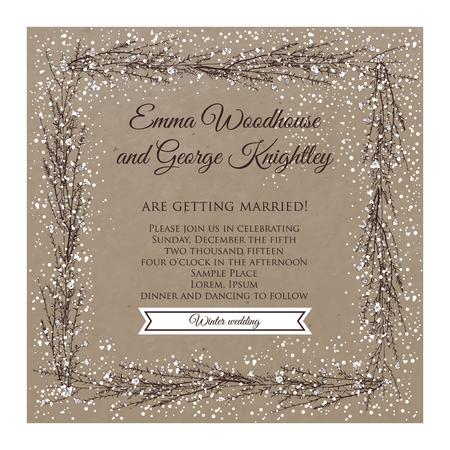 winter wedding invitation card on kraft with hand drawn branch of flax
