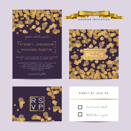 wedding ceremony: Elegant wedding set with rsvp and save the date cards, decorated with golden glitter.
