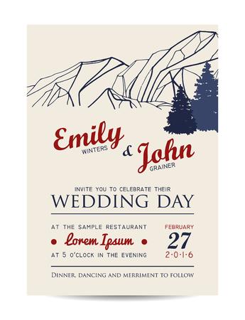 health resort: wedding invitation with mountains and fir-tree. winter invitation card Illustration