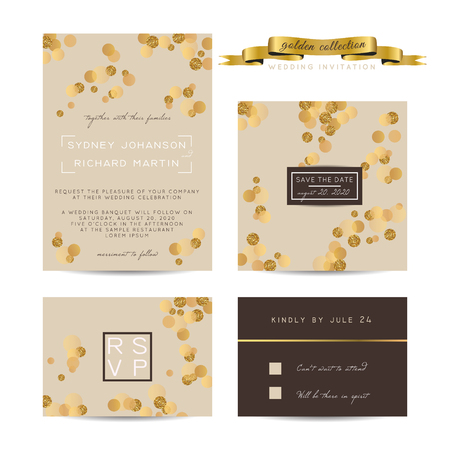 rsvp: Elegant wedding set with rsvp and save the date cards, decorated with golden glitter.