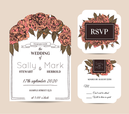 Botanic invitation set with rsvp card decorated with peonies.
