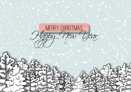 New year greeting card with snowy forest. Christmas winter illustration.