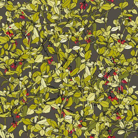 Hand drawn barberry branch seamless pattern
