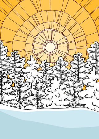 Winter illustration with geometric background and snowy forest. Ilustração