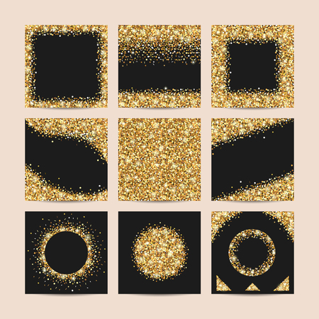 Set of golden decoration with glowing glitter. Golden sparks on a black background.