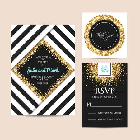 세련 된 결혼식 초대 카드 황금 반짝이 장식. 황금 기하학적 템플릿에 불꽃. 스톡 콘텐츠 - 93961153