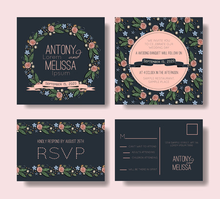 Floral wedding invitation set. Embroidery design.
