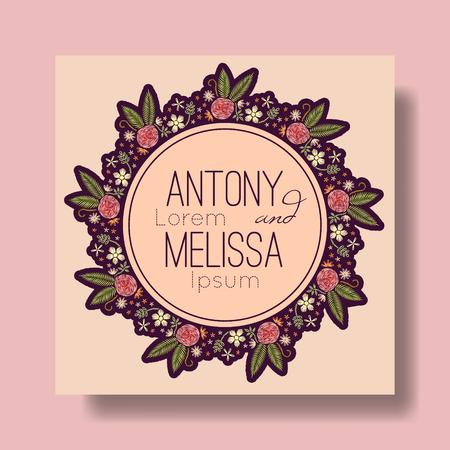 Floral wedding invitation. Embroidery design. Çizim