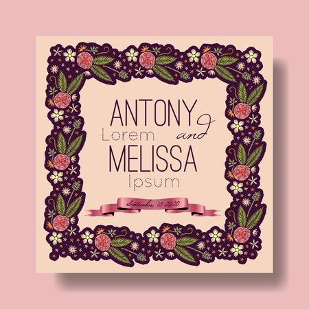 Floral wedding invitation. Embroidery design. Ilustração