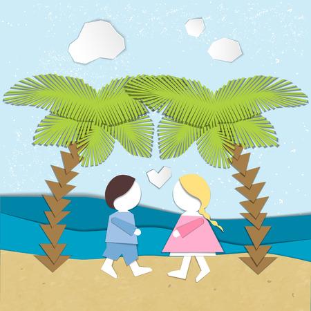 Summertime illustration. Couple in love on the beach. Paper cut design 일러스트