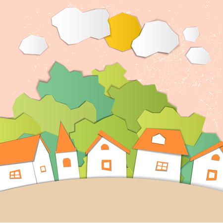 Nature landscape with houses. Paper cut design. Children's applique style