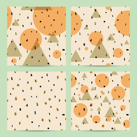 Set of geometric abstract seamless pattern
