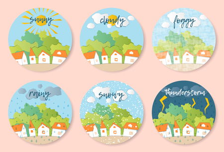Weather Forecast in papercut style.  Sunny, cloudy, foggy, rainy, snowy, stormy days. Children's applique style Vectores