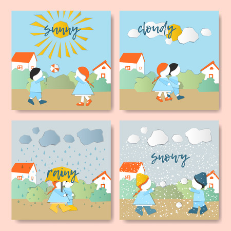 Vector Characters. Weather Forecast in papercut style. Girl and boy outdoors on a sunnycloudyrainy day.Childrens applique style