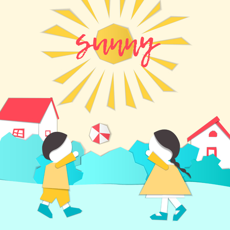 Vector Characters. Weather Forecast in papercut style. Girl and boy outdoors on a sunny day.Childrens applique style Çizim