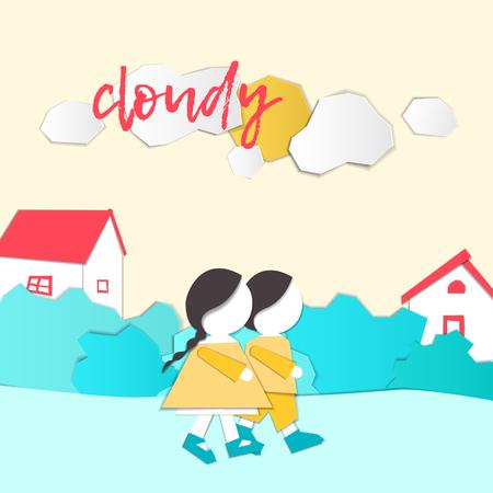 Caractères vectoriels. Prévisions météorologiques en style papercut. Fille et garçon à l'extérieur par temps nuageux. Style appliqué pour enfants