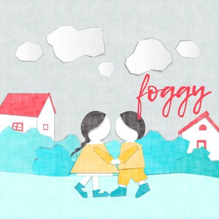 Vector Characters. Weather Forecast in papercut style. Girl and boy outdoors on a foggy day.Childrens applique style