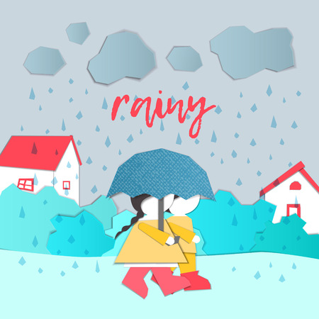 Vector Characters. Weather Forecast in papercut style. Girl and boy outdoors on a rainy day.Childrens applique style