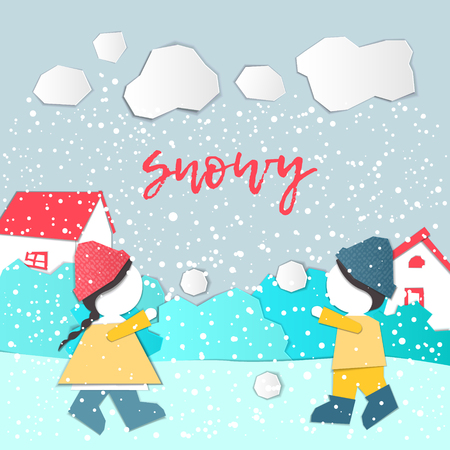 Vector Characters. Weather Forecast in papercut style. Girl and boy outdoors on a snowy day.Childrens applique style Çizim